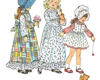 Child's Pinafore Pattern Holly Hobbie Fashion Dress Long Short Simplicity Vintage Uncut Sewing Children's Bonnet  Girl's Size 6