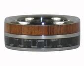 Koa and Carbon Fiber Titanium Ring