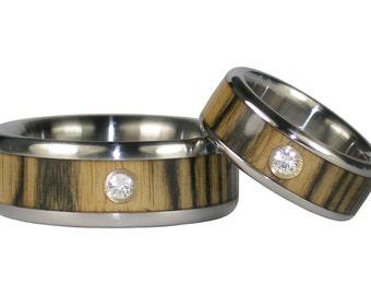 Black and White Ebony Diamond Wedding Rings
