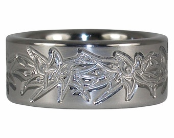 Maile Lei Engraved Titanium Ring