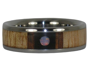 Multiple Wood and Opal Cab Titanium Ring