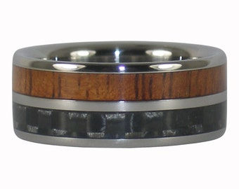 Great Ring For a Man with Fire Koa and Carbon Fiber