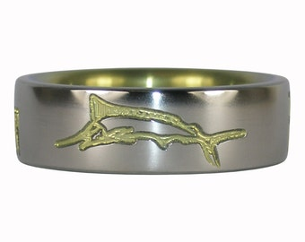 Yellow Anodized Marlin Titanium Ring