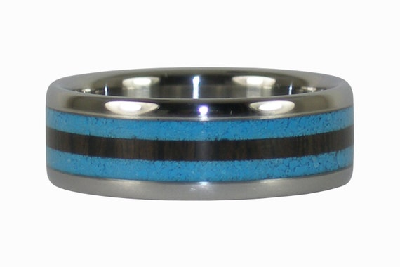 Blue Turquoise and Black Wood Ring