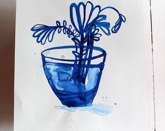Original Watercolor Ink artwork Inky Blue Vase watercolour original