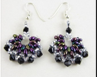 Super Duo Half Hoop Dangle Seed Bead Beadwork Earrings in Black and Purple
