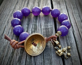 Knotted Amethyst Bracelet with Ethiopian Coin