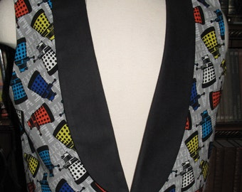 Cosplay Dr.Who Dalek print Tuxedo men's vest