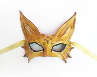 Spotted Cat Leopard Cheetah Leather Mask  very light and easy to wear
