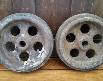Vintage Industrial Cast Iron Wheel Set of 2