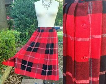 1970s Vintage Red Black Wool Plaid Skirt High Waist Knee Length Schoolgirl Skirt Pleated Red Kilt Button Skirt Size Small