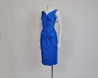 50s dress / Liquid Satin Vintage 1950s Blue Wiggle Dress