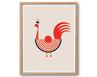 Minimal Print, Rooster Print, Rooster illustration, Modern wall art, Hen art print, hen illustration, Animal Illustration, Minimal Art
