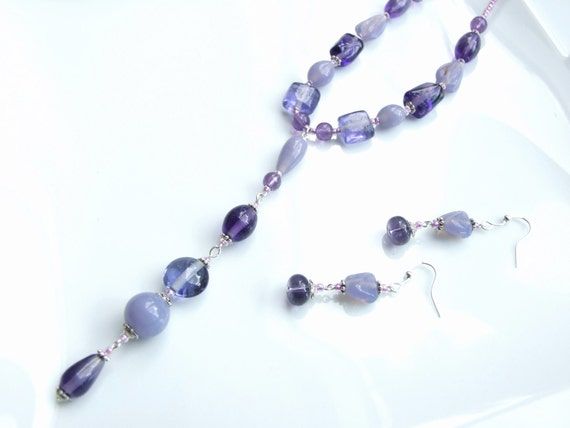 SET - Lilac & Lavender Bead 'Y' Pendant
