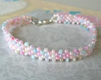 Pastel Bracelet, Light Pastel Colors, Multi Colored Beaded Bracelet, Dainty Pink and Lavender Beadwoven Stacking Bracelet