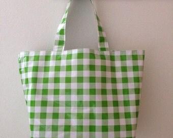 Beth's Big Kiwi Picnic Check Oilcloth Market Tote Bag