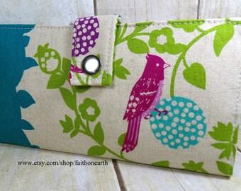 Birds on a Perch in teal -  ECHINO Japanese Handmade  Long Wallet  Bi-Fold Clutch
