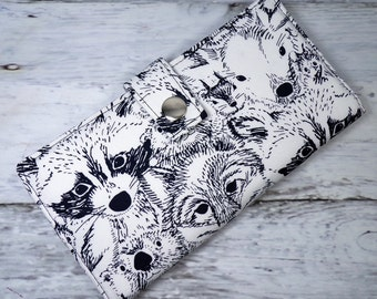 sketched animal faces wildlife Handmade Long Wallet  BiFold Clutch -vegan wallet -sketched animal faces wallet or half size unisex wallet