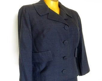 1950s Vintage Two Piece Suit in Navy Blue / Pure Silk / Philippe California / Three Quarter Sleeves