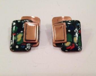 Vintage Matisse Clip Earrings, Enamel and Copper, Mid Century