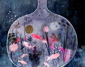 fish, aquatic art, magical print, enchanted art, goldfish print, small creatures, botanical print, floral art, nature, 10x8, archival,