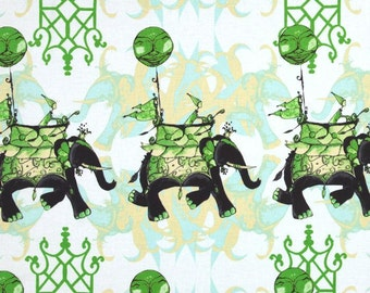 """1 Long Fat Quarter Elephant Run in Cloud, 24"""" long by 22"""" wide, Cotton Fabric, Sold Out Everywhere, Tina Givens Pernilla's Journey"""