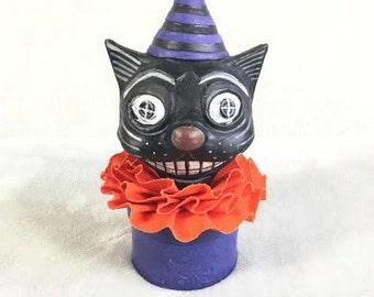 OOAK Handmade Folk Art Black Cat Halloween Vintage Styled Candy Container