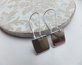 Rhodium Square Earrings - on long nickel free kidney hooks or short surgical steel plated hooks