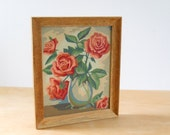 Vintage 1950s Paint By Numbers • Framed Roses in Vase Still Life • 1954 Flowers in Wood Frame