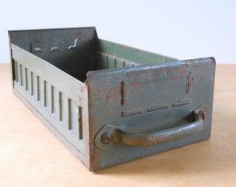 Vintage Metal File Drawer • Green Metal Filing Drawer • Industrial Storage Drawer
