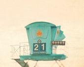 sale 25% off beach photograph, lifeguard tower, aqua blue, seashore, turquoise, coastal decor, nautical art, lifeguard print, California, nu
