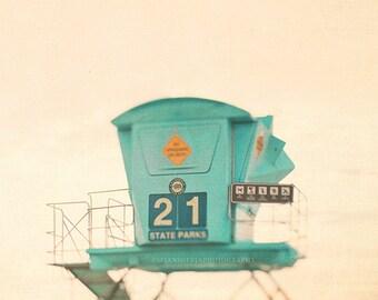 beach photograph, lifeguard tower, aqua blue, seashore, turquoise, coastal decor, nautical art, lifeguard print, California, nursery, No. 21