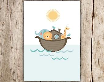 Noah's Ark Printable Art - Great for Nursery, Kids room - Instant Download - Digital Download