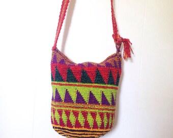 Vintage 1990s Woven Textile Bucket Bag