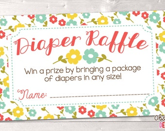 Floral Printable Diaper Raffle Card Baby Shower Game Party Printable PDF Instant Download