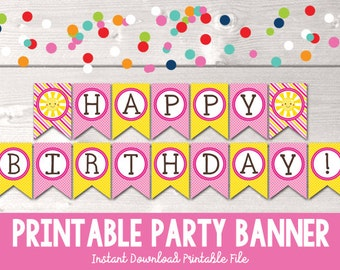 Sunshine Happy Birthday Banner Instant Download Printable PDF in PInk and Yellow with Stripes and Polka Dots Girls Birthday Party Banner