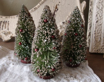 """Bottle brush trees 6"""" flocked glass glitter christmas trees ornaments craft supplies vintage style trees holiday crafting christmas village"""