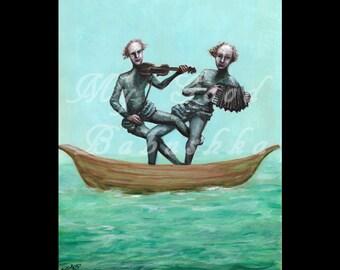 The Seasick Minstrels, Original Painting, Boat, Ocean, Music, Musicians, Violin, Accordion, Sea, Surreal, Fairytale, Folktale, Nautical