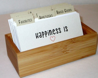 Recipe Box...Bamboo...Recipe Cards... 3 by 5 with Fun Dividers..Ready to Ship