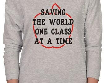 Teacher Gift Womens Off the shoulder Teacher shirt Funny gift for Teacher Shirt Teacher Appreciation Day Raglan Raw Edge sweater