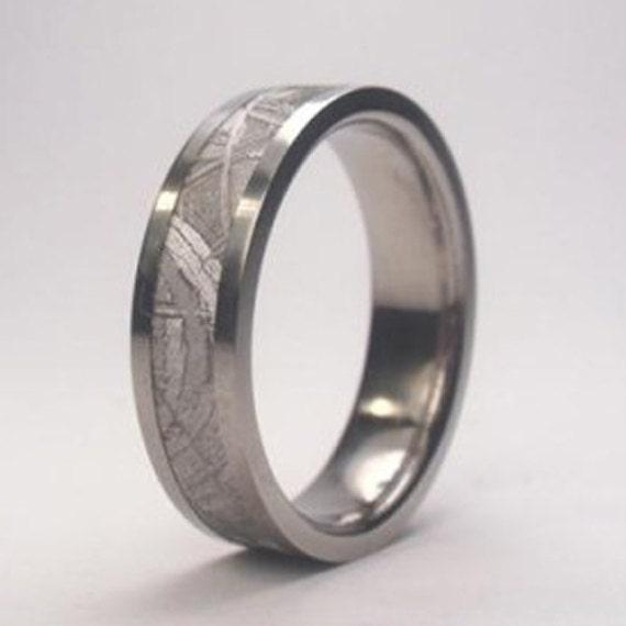 Beautiful Meteorite Wedding Band, Palladium Ring