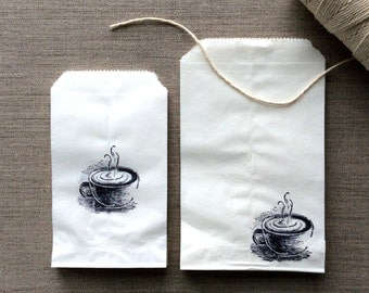 20 White or Kraft Coffee Favor Bags, coffee paper bags, white coffee paper bags, wedding favors, bakery bags, baked goods bags