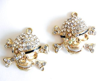 Gold-tone Skull and Crossbones Charms Rhinestones