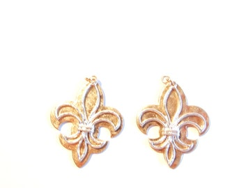 Pair of Two-toned Gold-Silver Swinging Fleur de Lis Charms