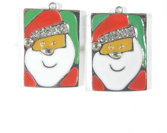 Pair of Santa Head Charms Rectangular with Rhinestones and Red and Green Epoxy
