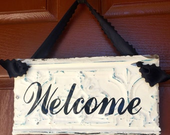 Welcome Sign - Antique Ceiling Tin