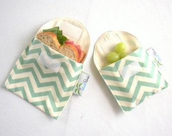 Back to School SALE Sea Green Chevron Sandwich and Snack Bags, Reusable, Organic Cotton, Eco Friendly - Set of 2 - Back to School