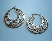 vintage silver Celtic knot hoop earrings