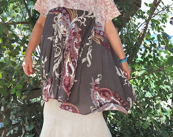 Paisley Baby Doll - Large Swinging Dress/ Tunic -  Combination Fabrics -  made by kathrin kneidl for resplendent rags