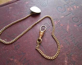 antique watch fob watch chain - dapper gentlemans jewelry - victorian costume jewelry